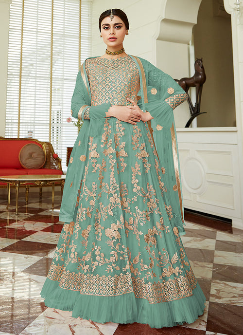 Blue Golden Embroidered Net Anarkali Lehenga Suit, Salwar Kameez