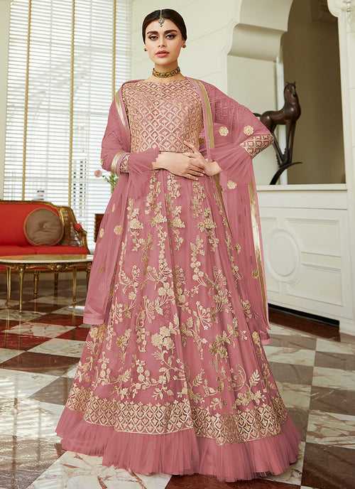 Indian Clothes - Dark Pink Golden Embroidered Net Anarkali Lehenga Suit