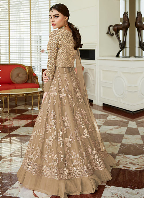 Beige Golden Embroidered Net Anarkali Lehenga Suit, Salwar Kameez