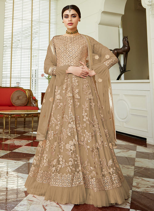 Indian Clothes - Beige Golden Embroidered Net Anarkali Lehenga Suit