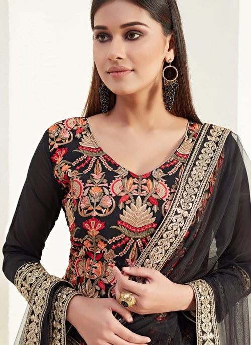 Indian Dresses - Black Multi Pants Style Suit