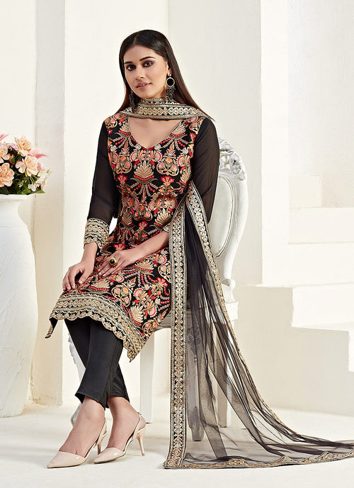 Indian Suits - Black Embroidered Pants Suit