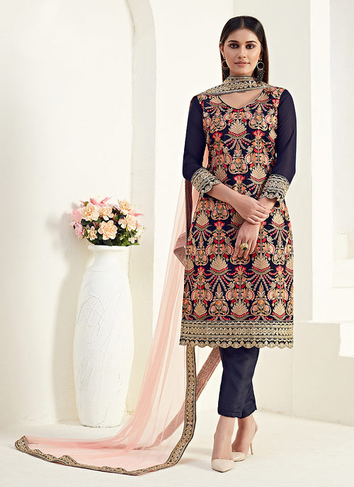 Indian Suits - Navy Blue Multi Pants Style Suit