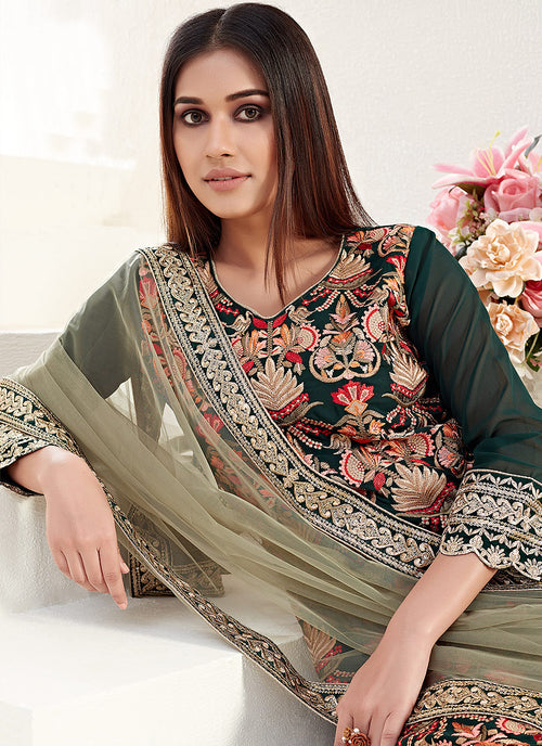 Indian Dresses - Dark Green Pants Style Suit