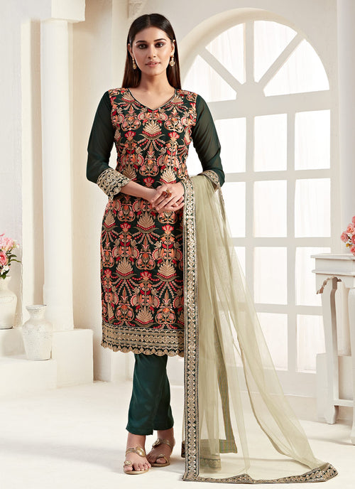 Indian Suits - Dark Green  Pants Style Suit
