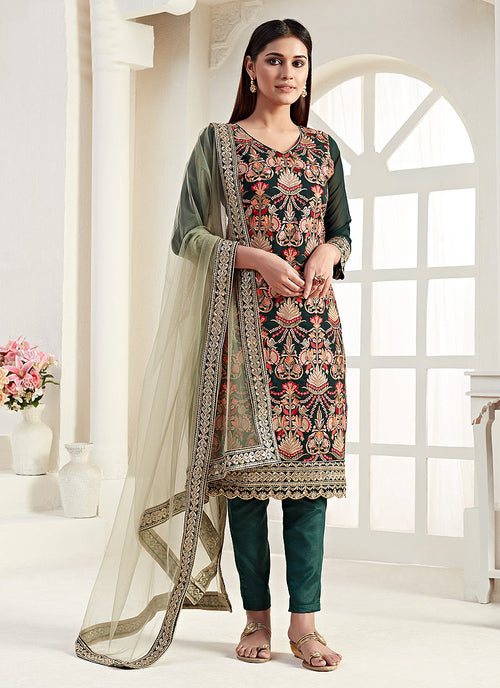 Dark Green Salwar Kameez