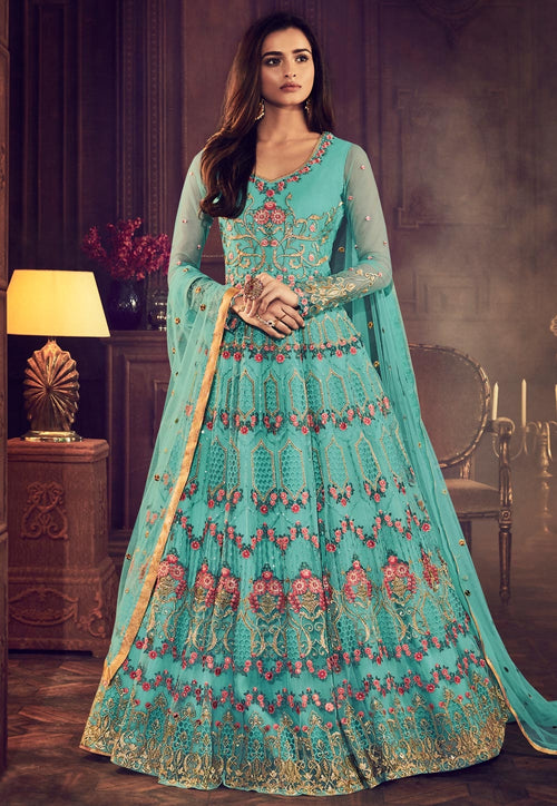 Aqua Blue Traditional Embroidered Anarkali Suit