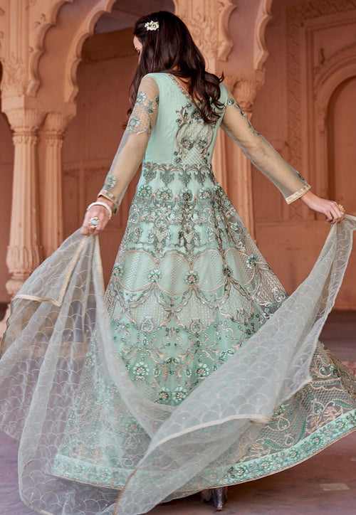 Aqua Blue Multi Embroidered Net Anarkali Suit
