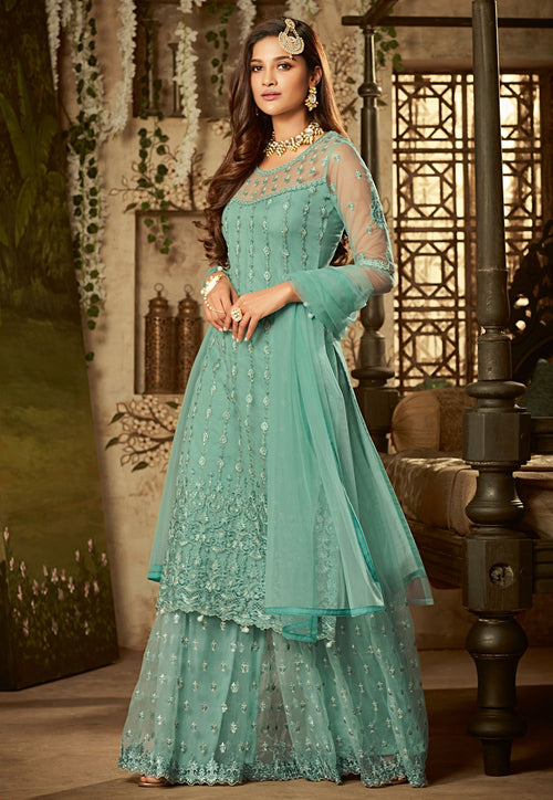 Aqua Blue Embroidered Palazzo Suit