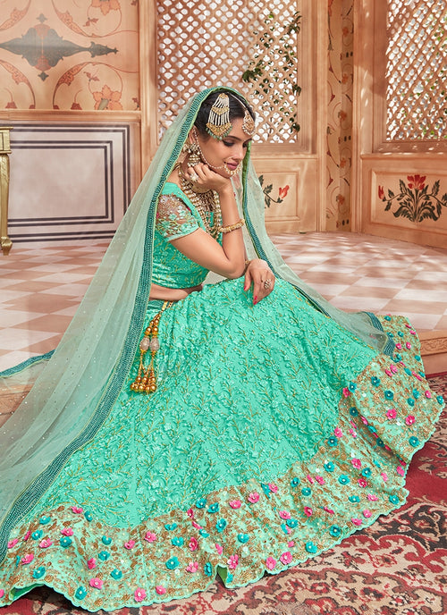 Aqua Blue Overall Embroidered Flared Lehenga Choli Set