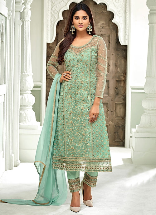 Aqua Blue Pakistani Embroidered Pant Suit