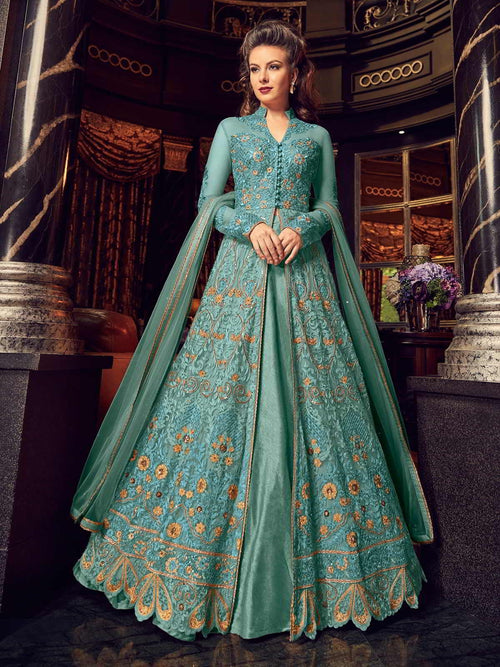 Aqua Blue With Golden Embroidered Lehenga/Pant Suit
