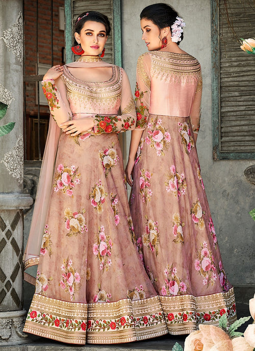 Baby Pink Floral Embroidered Lehenga Choli Suit