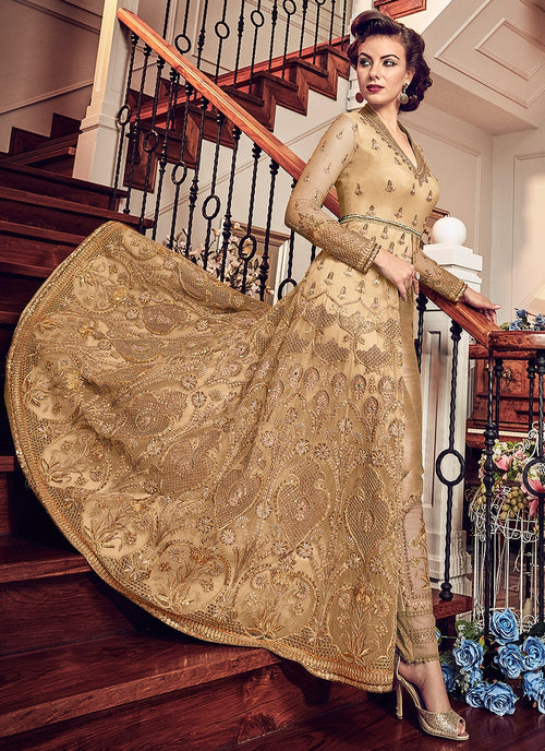 Beige With Golden Details Kalidar Anarkali Lehenga/Pant Suit