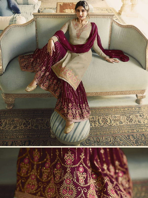 Beige And Maroon Ethnic Embroidered Sharara Suit