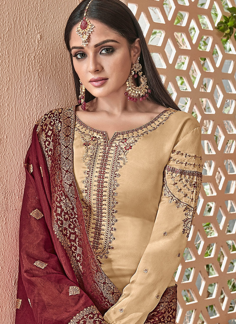e6b48d34229 Beige And Maroon Combination Embroidered Palazzo Suit - Hatkay – Hatkay.com