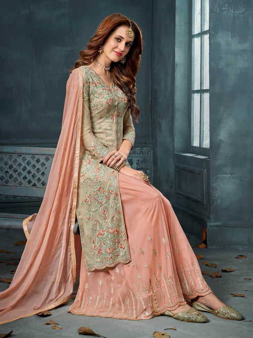 Beige And Peach Embroidered Palazzo Suit
