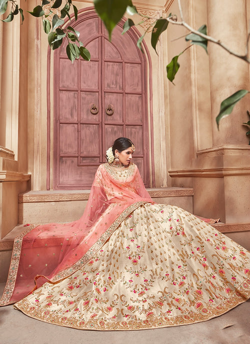 Beige And Peach Overall Embroidered Flared Lehenga Choli Set