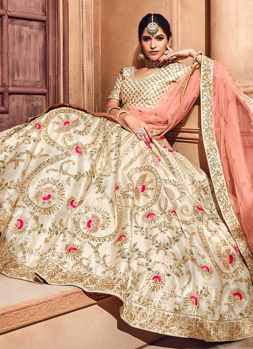 Beige And Peach Hand Embroidered Lehenga Choli
