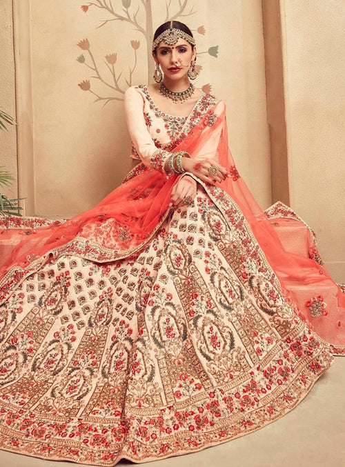Beige And Peach Velvet Embroidered Lehenga Choli
