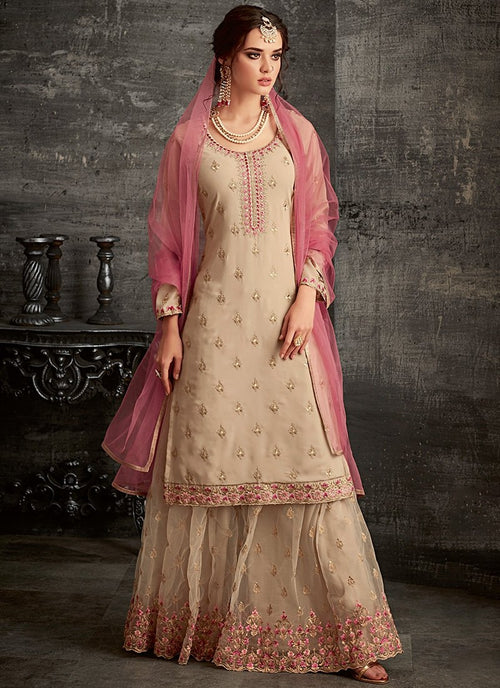 Beige And Pink Ethnic Embroidered Palazzo Suit