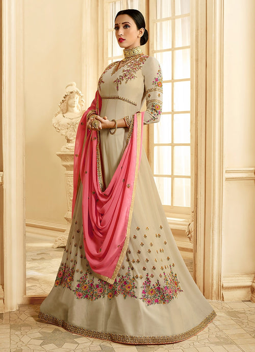 Beige And Pink Ethnic Embroidered Flared Anarkali Suit