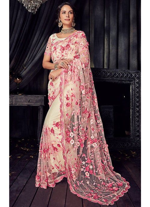 Off White And Pink Overall Floral Embroidered Designer Saree