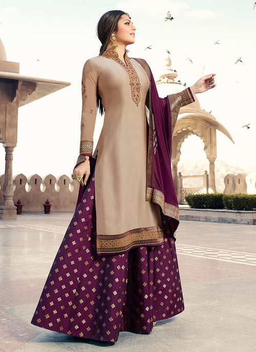 Beige And Purple Embroidered Lehenga Kurti Set
