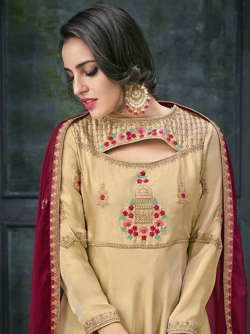 Beige And Red Ethnic Embroidered Anarkali Suit