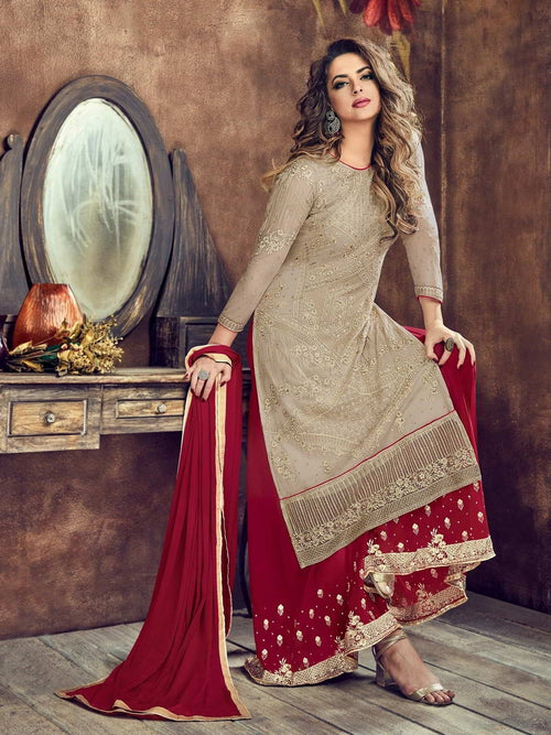Beige And Red Embroidered Flared Palazzo Suit
