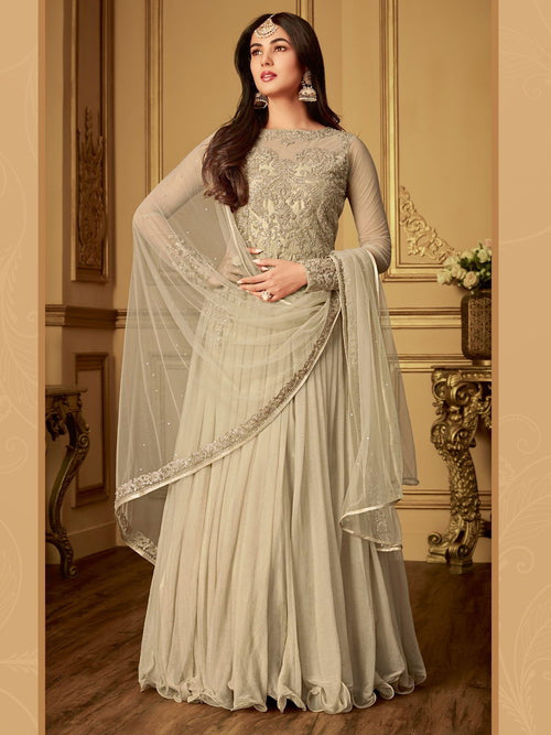 Beige Bling With Traditional Embroidered Detailed Anarkali Suit