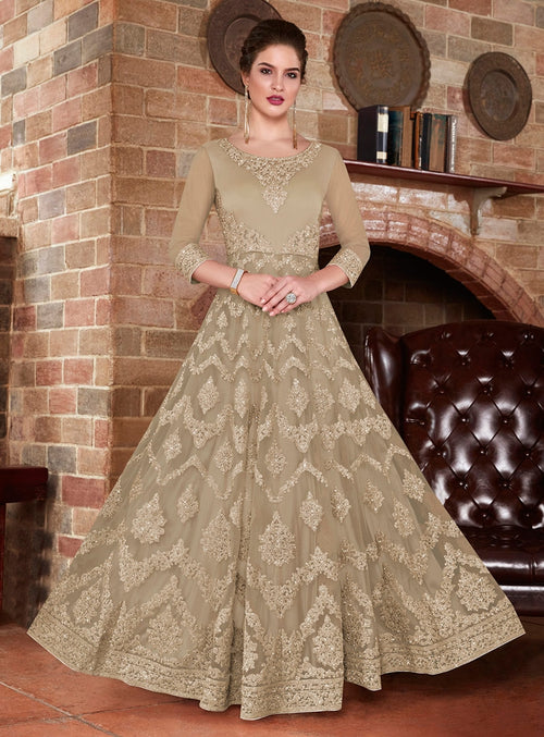 Beige Vibes Embroidered Flared Anarkali Suit