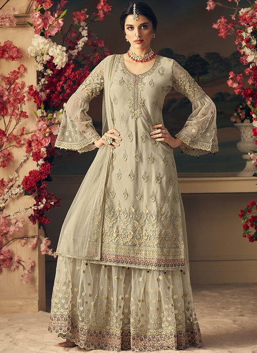 Beige Bling Multi Embroidered Flared Sharara Suit