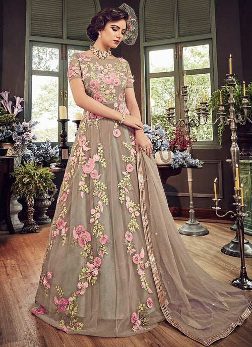 Beige Beauty Floral Embroidered Flared Anarkali Suit