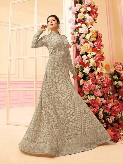 Beige With Kashmir Embroidered Detail Designer Kalidar Anarkali Suit