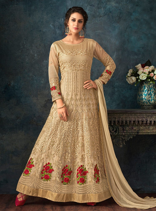 Beige Gold Overall Bunch Embroidered Flared Anarkali Suit