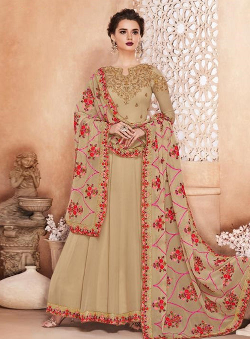 Beige Golden Multi Embroidered Flared Anarkali Suit