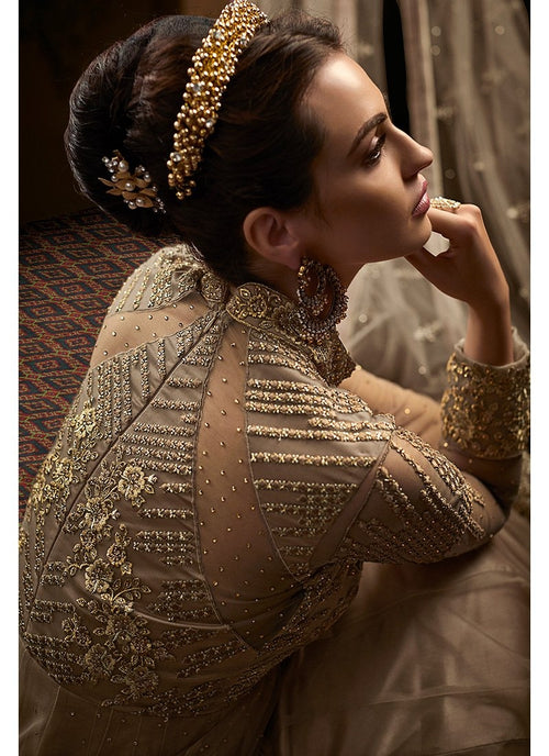 Beige Overall Embroidered Net Anarkali Suit