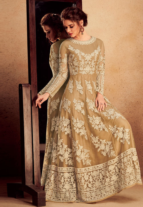 Beige Overall Floral Embroidered Silk Anarkali Suit