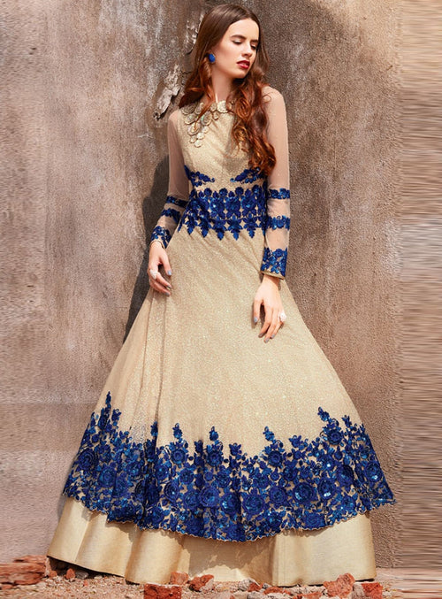 Beige With Blue Traditional Embroidered Designer Anarkali Suit