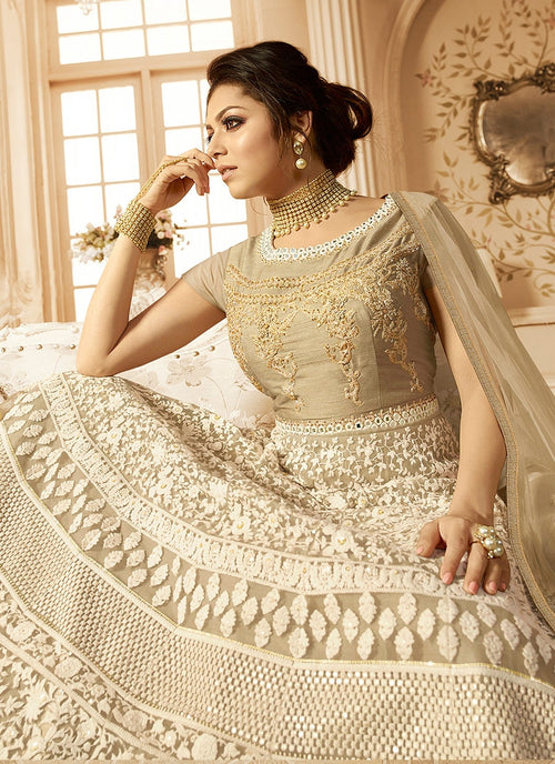 Beige With Kashmiri Detail Embroidered Anarkali Suit