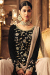 Black And Beige Traditional Embroidered Palazzo Suit