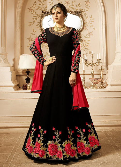 Black And Pink Ethnic Embroidered Anarkali Suit