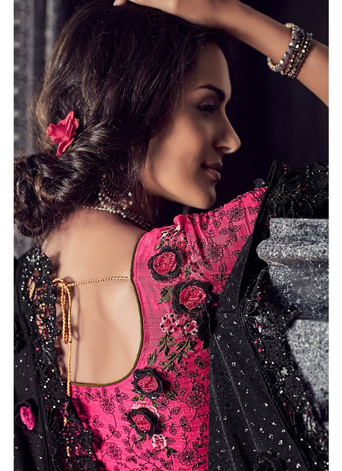 Black And Pink Floral Motifs Embroidered Designer Saree
