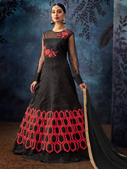Black And Red Embroidered Silk Anarkali Suit