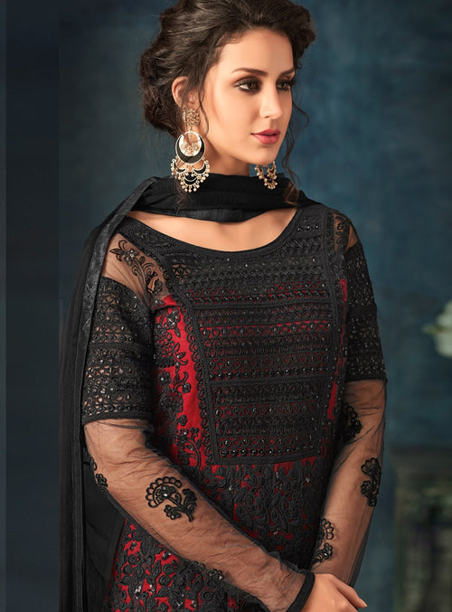 Red And Black Embroidered Flared Anarkali Suit