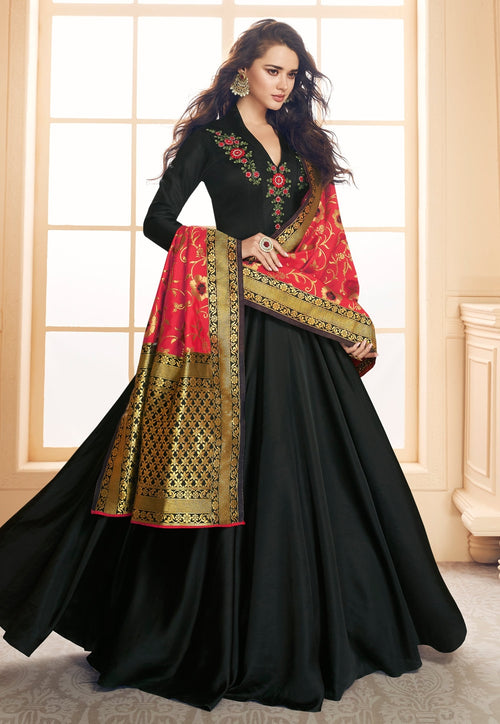 Black And Red Embroidered Satin Anarkali Suit