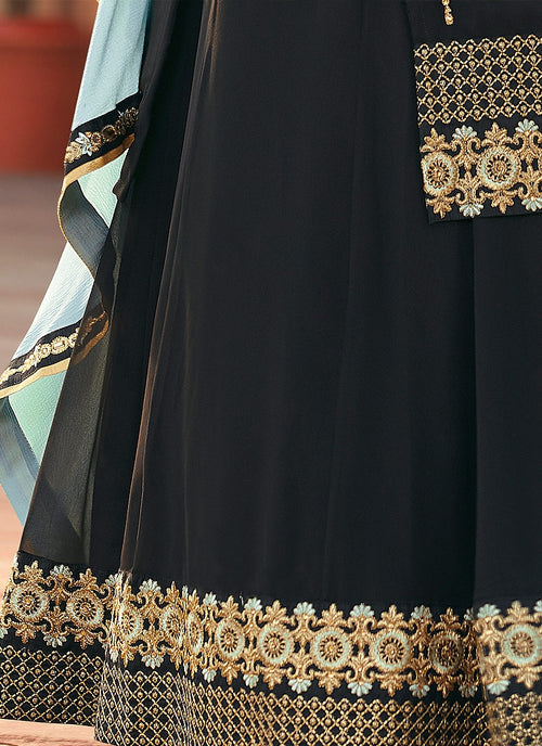 Black And Teal Embroidered Lehenga Kurti Suit