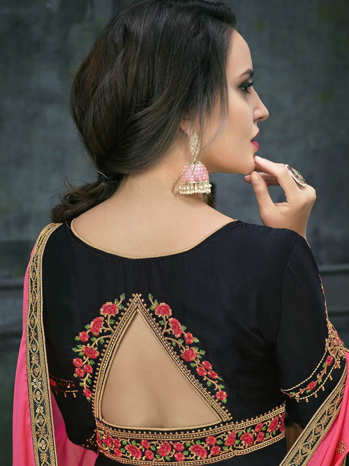 Black Pink Ethnic Embroidered Anarkali Suit