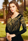 Black Golden Embroidered Georgette Anarkali Suit